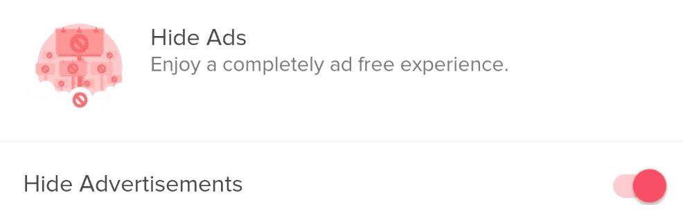 Hide ads function on tinder gold c